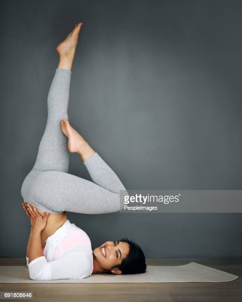 you're one pose away from a good mood - yoga pants stock photos and pictures
