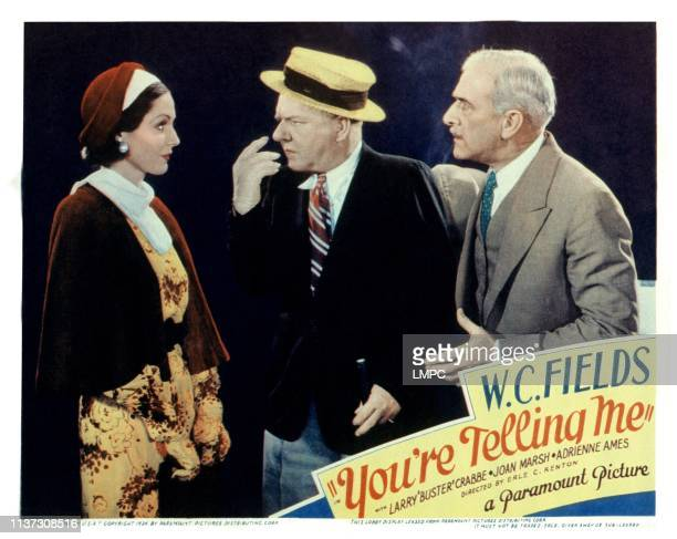 You're Telling Me US lobbycard from left Adrienne Ames WC Fields George Irving 1934