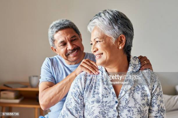 you're too kind my dear - husband massage wife stock photos and pictures