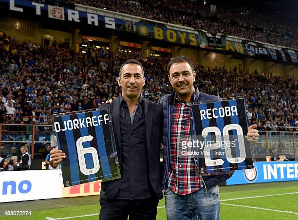 Youri Djorkaeff and Alvaro Recoba attend the Serie A match between FC Internazionale Milano and AC Milan at Stadio Giuseppe Meazza on September 13...
