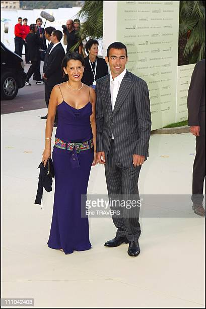 Youri Djorkaeff and his wife at Laureus awards in Monaco city Monaco on May 19 2003