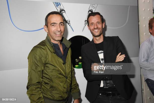 Youri Djorkaeff and HYT Watches CEO Gregory Dourde attend the HYT Watches Launch Party at VIP Room Theater on September 7 2017 in Paris France