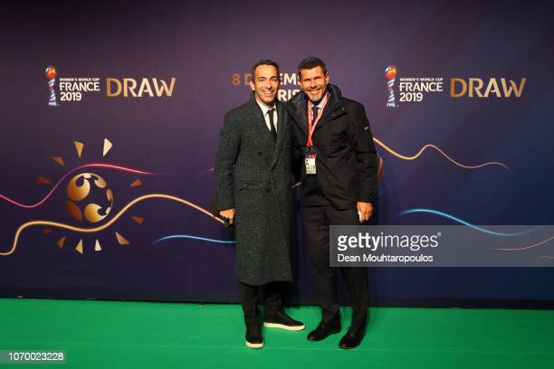 Youri Djorkaeff and Zvonimir Boban, FIFA Deputy Secretary General arrives on the green carpet during the FIFA Women's World Cup France 2019 Draw at...