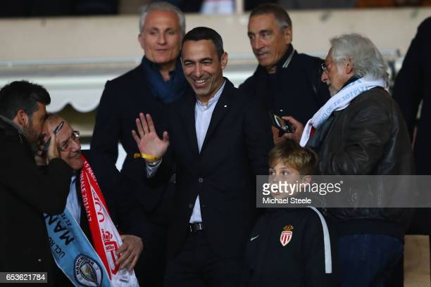Youri Djorkaeff ex France International acknowledges the home fans during the UEFA Champions League Round of 16 second leg match between AS Monaco...
