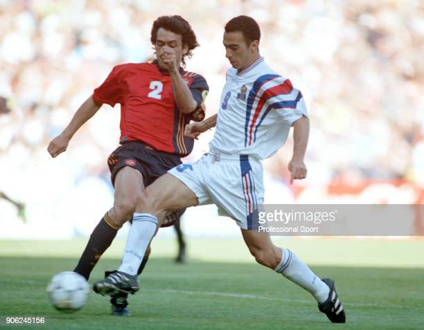 Youri Djorkaeff of France scores a goal against Spain during a UEFA Euro96 Group B match at Elland Road in Leeds on 15th June 1996 The match ended in...