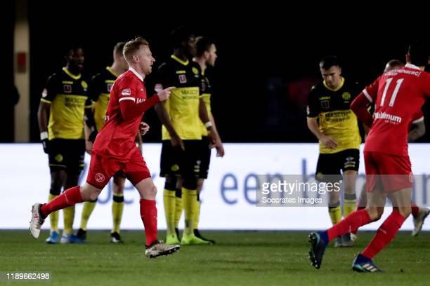 Youri Loen of Almere City FC celebrates 1-0 during the Dutch Keuken Kampioen Divisie match between Almere City v Roda JC at the Yanmar Stadium on...