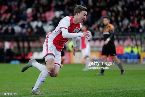 Youri Regeer of Ajax U19 celebrates 11 during the match between Ajax U19 v Valencia U19 at the De Toekomst on December 10 2019 in Amsterdam...