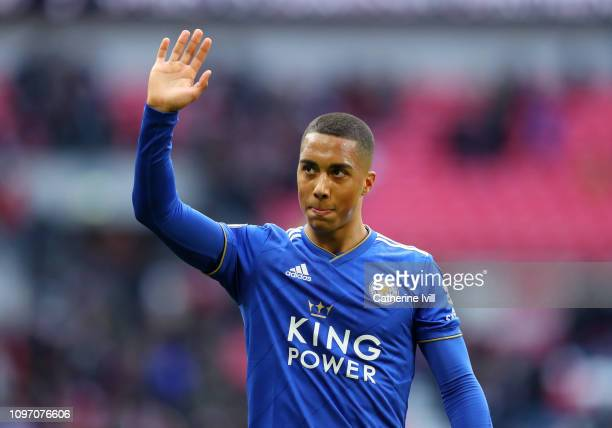 Youri Teilemans of Leicester City acknowledges the fans after the Premier League match between Tottenham Hotspur and Leicester City at Wembley...