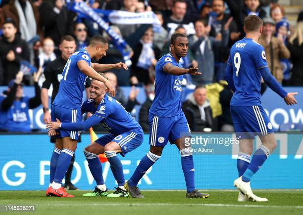 Youri Teilemans of Leicester City celebrates with James Maddison and team mates as he scores his team's first goal during the Premier League match...