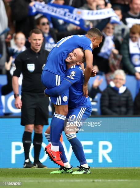 Youri Teilemans of Leicester City celebrates with James Maddison as he scores his team's first goal during the Premier League match between Leicester...