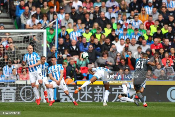 Youri Teilemans of Leicester City scores his team's first goal during the Premier League match between Huddersfield Town and Leicester City at John...