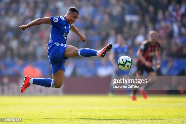 Youri Teilemans of Leicester City stretches for the ball during the Premier League match between Leicester City and AFC Bournemouth at The King Power...