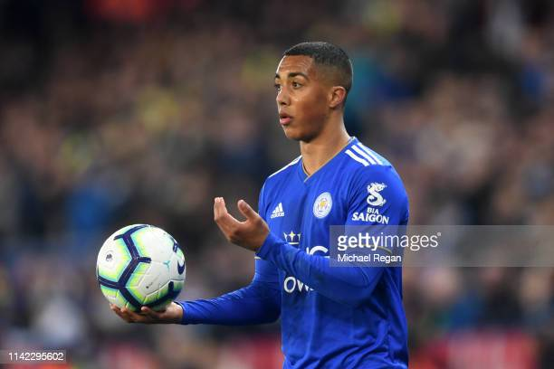 Youri Teilemans of Leicester City throws in the ball during the Premier League match between Leicester City and Newcastle United at The King Power...
