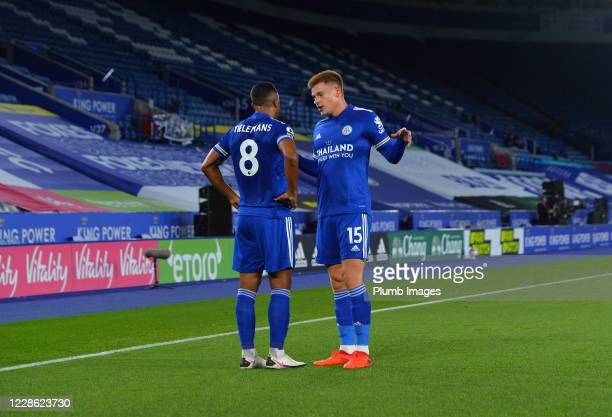 Youri Tielemans and Harvey Barnes of Leicester City react during the Premier League match between Leicester City and Burnley at The King Power...