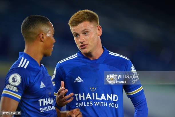 Youri Tielemans and Harvey Barnes of Leicester City talk during the Premier League match between Leicester City and Burnley at The King Power Stadium...
