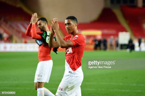 Youri Tielemans and rachid Ghezzal of Monaco salute their fans during the Ligue 1 match between AS Monaco and EA Guingamp at Stade Louis II on...