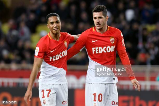 Youri Tielemans and Stevan Jovetic of Monaco during the Ligue 1 match between AS Monaco and Lyon at Stade Louis II on February 4 2018 in Monaco