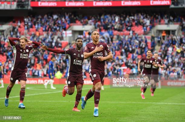 Youri Tielemans celebrates scoring a goal to make it 1-0 during The Emirates FA Cup Final match between Chelsea and Leicester City at Wembley Stadium...