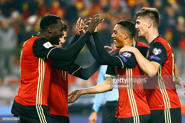 Youri Tielemans midfielder of Belgium and Thomas Meunier defender of Belgium Romelu Lukaku forward of Belgium celebrates during the World Cup...
