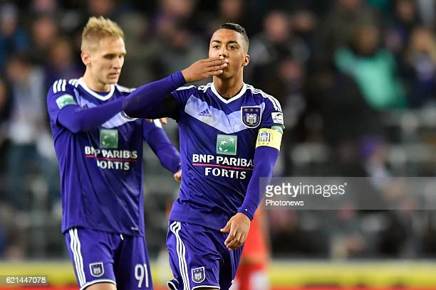 Youri Tielemans midfielder of RSC Anderlecht celebrates scoring 11 from penalty during the Jupiler Pro League match between RSC Anderlecht and KV...