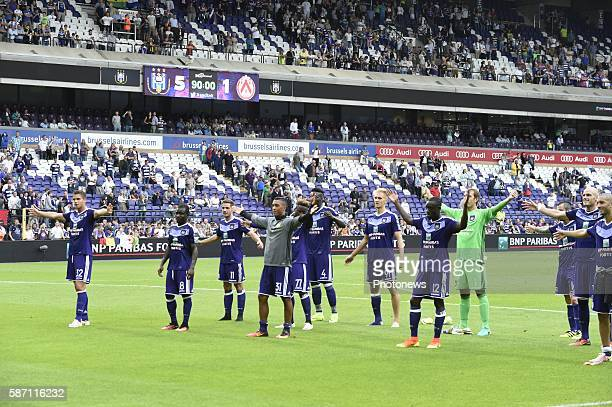 Youri Tielemans midfielder of RSC Anderlecht players of RSCA celebrates the win with the fans pictured during Jupiler Pro League second day...