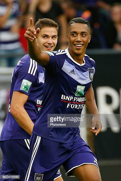 Youri Tielemans midfielder of RSC Anderlecht scores and celebrates pictured during Jupiler Pro League match between RSC Anderlecht and Sporting...