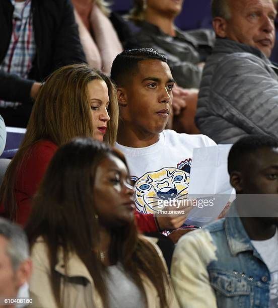 Youri Tielemans midfielder of RSC Anderlecht watching the game from the stand pictured during Jupiler Pro League match between RSC Anderlecht and KVC...