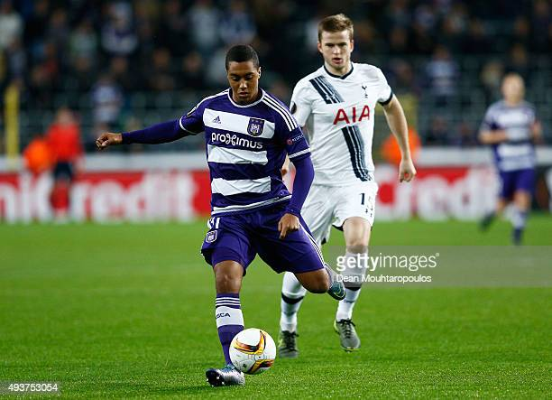Youri Tielemans of Anderlecht is closed down by Eric Dier of Spurs during the UEFA Europa League Group J match between RSC Anderlecht and Tottenham...