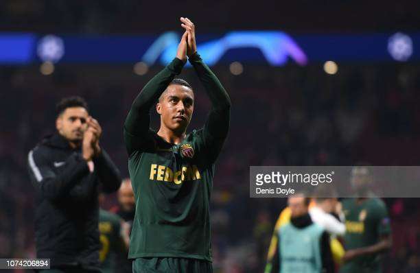 Youri Tielemans of AS Monaco applauds fans following the UEFA Champions League Group A match of the between Club Atletico de Madrid and AS Monaco at...