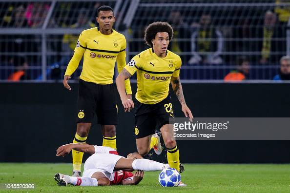 Youri Tielemans Of AS Monaco, Axel Witsel Of Borussia