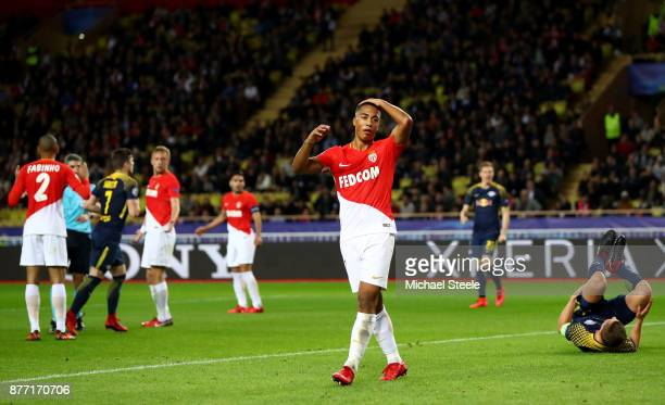 Youri Tielemans of AS Monaco FC looks dejected during the UEFA Champions League group G match between AS Monaco and RB Leipzig at Stade Louis II on...