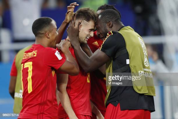 Youri Tielemans of Belgium Adnan Januzaj of Belgium Romelu Lukaku of Belgium during the 2018 FIFA World Cup Russia group G match between England and...