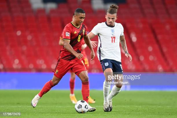 Youri Tielemans of Belgium battles for possession with Kalvin Phillips of England during the UEFA Nations League group stage match between England...