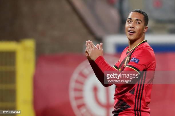 Youri Tielemans of Belgium celebrates 1-0 during the UEFA Nations league match between Belgium v England at the King Baudouin Stadium on November 15,...