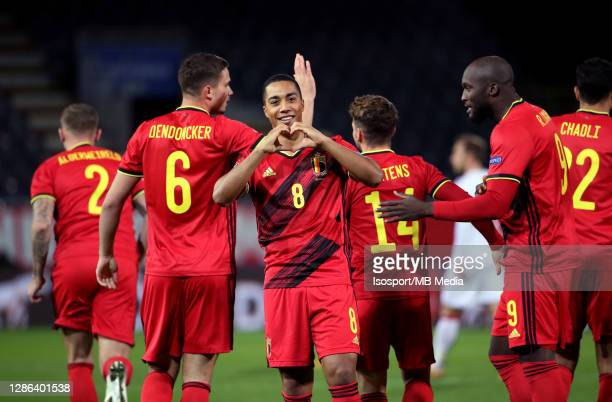 Youri Tielemans of Belgium celebrates after scoring the 1-0 goal during the UEFA Nations League group stage match between Belgium and Denmark at King...