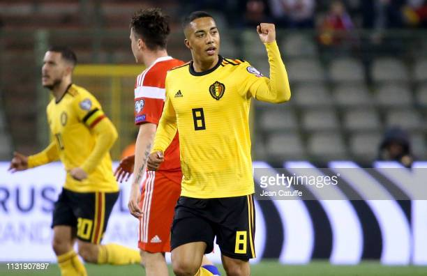 Youri Tielemans of Belgium celebrates his goal during the 2020 UEFA European Championships group I qualifying match between Belgium and Russia at...