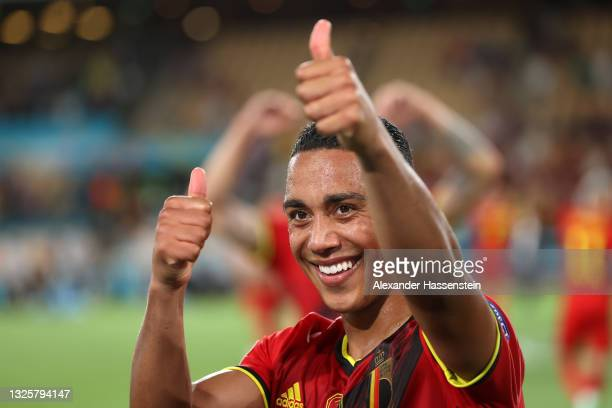 Youri Tielemans of Belgium celebrates their side's victory towards the fans after the UEFA Euro 2020 Championship Round of 16 match between Belgium...