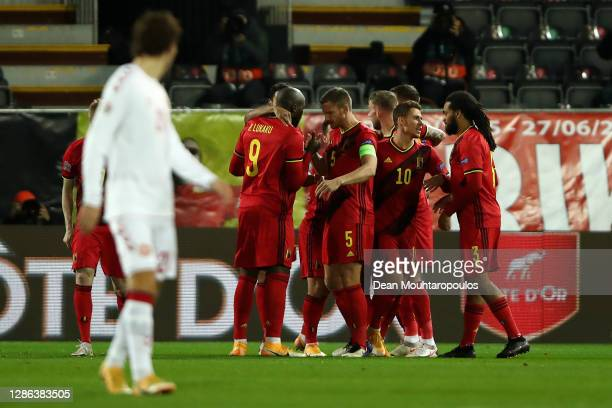 Youri Tielemans of Belgium celebrates with team mates after scoring their team's first goal during the UEFA Nations League group stage match between...