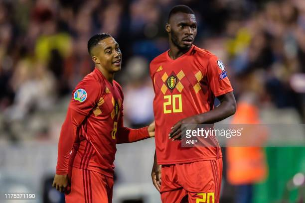 Youri Tielemans of Belgium, Christian Benteke of Belgium during the UEFA EURO 2020 qualifier group I match between Belgium and San Marino at the King...