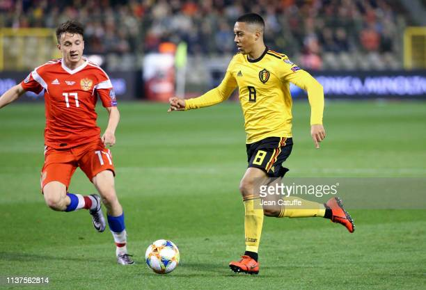 Youri Tielemans of Belgium drives the ball during the 2020 UEFA European Championships group I qualifying match between Belgium and Russia at King...