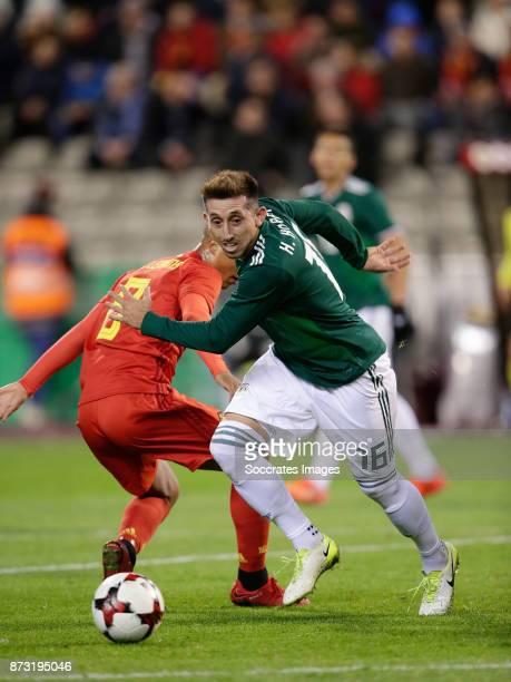 Youri Tielemans of Belgium Hector Herrera of Mexico during the International Friendly match between Belgium v Mexico at the Koning Boudewijnstadion...