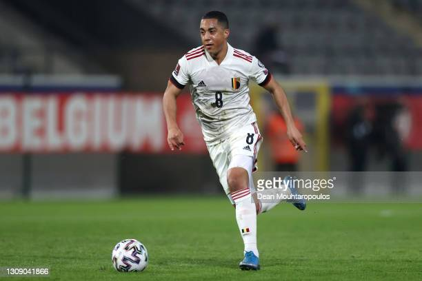 Youri Tielemans of Belgium in action during the FIFA World Cup 2022 Qatar qualifying match between Belgium and Wales at King Power at Den Dreef on...