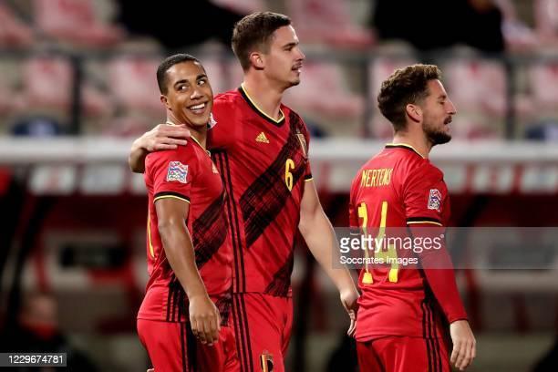 Youri Tielemans of Belgium, Leander Dendoncker of Belgium, Dries Mertens of Belgium celebrate 1-0 during the UEFA Nations league match between...