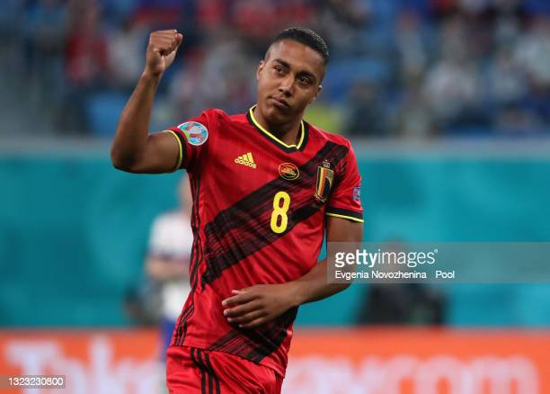 Youri Tielemans of Belgium reacts during the UEFA Euro 2020 Championship Group B match between Belgium and Russia on June 12, 2021 in Saint...