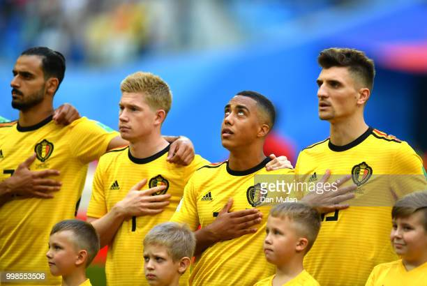 Youri Tielemans of Belgium sings the national anthem prior to the 2018 FIFA  World Cup Russia ad82e5aee