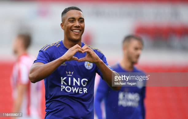 Youri Tielemans of Leicester celebrates his goal during the Pre-Season Friendly match between Stoke City and Leicester City at the Bet365 Stadium on...