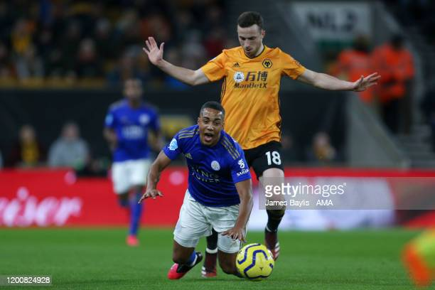 Youri Tielemans of Leicester City and Diogo Jota of Wolverhampton Wanderers during the Premier League match between Wolverhampton Wanderers and...