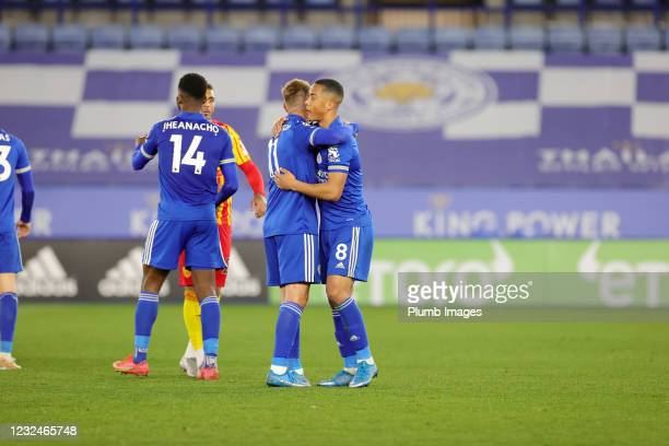 Youri Tielemans of Leicester City and Marc Albrighton of Leicester City celebrate after the Premier League match between Leicester City and West...