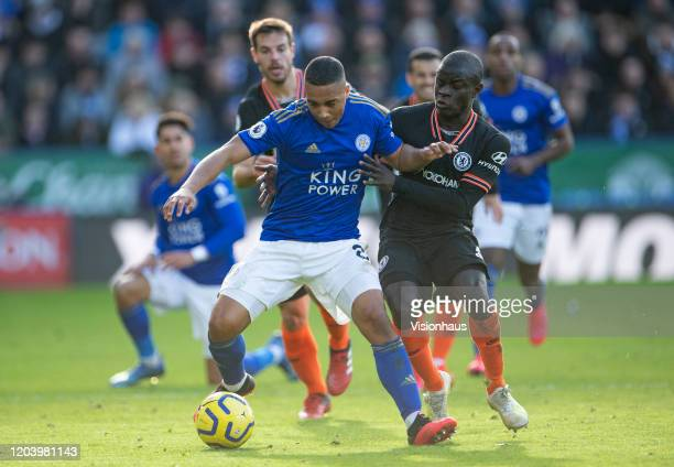 Youri Tielemans of Leicester City and N'Golo Kanté of Chelsea during the Premier League match between Leicester City and Chelsea FC at The King Power...