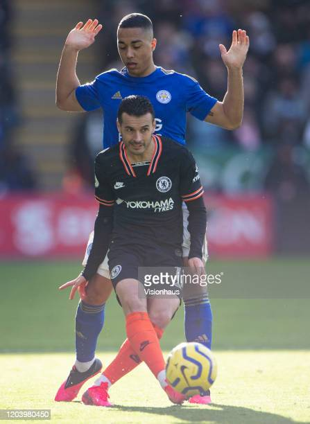 Youri Tielemans of Leicester City and Pedro of Chelsea during the Premier League match between Leicester City and Chelsea FC at The King Power...